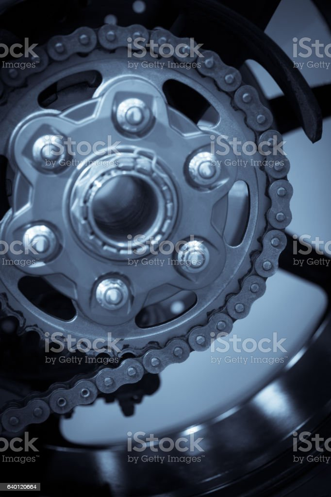 Motorcycle chain and sprocket stock photo