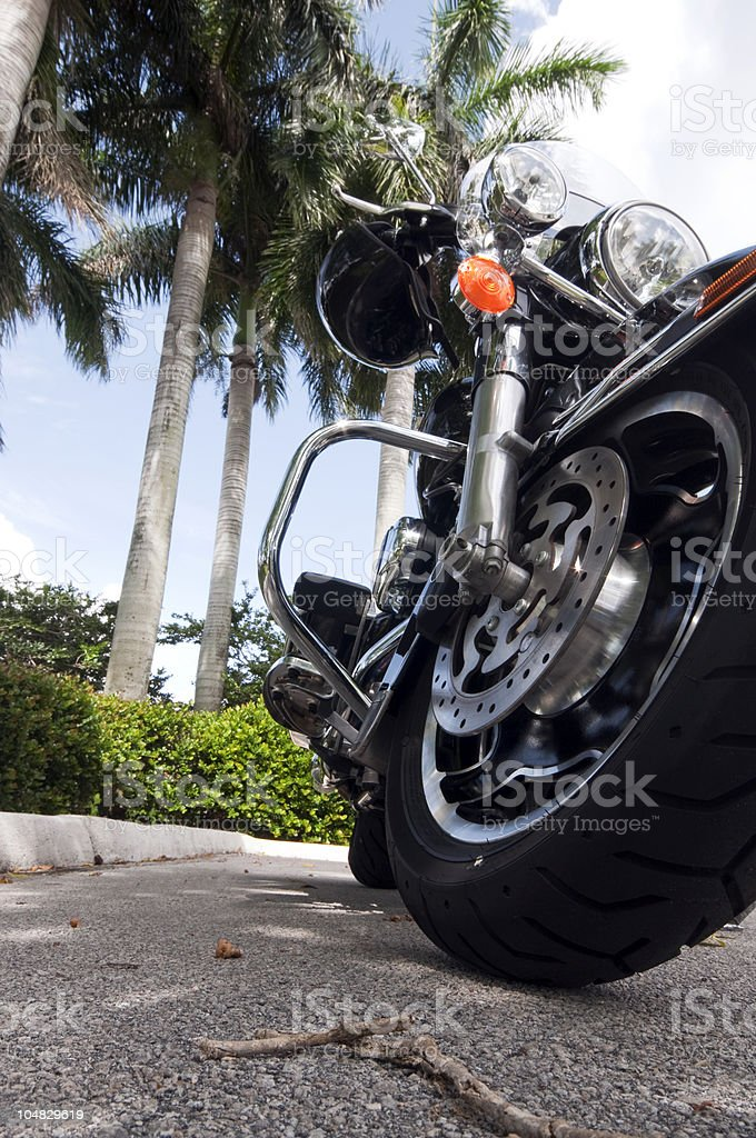 Motorcycle Close up with palm trees stock photo