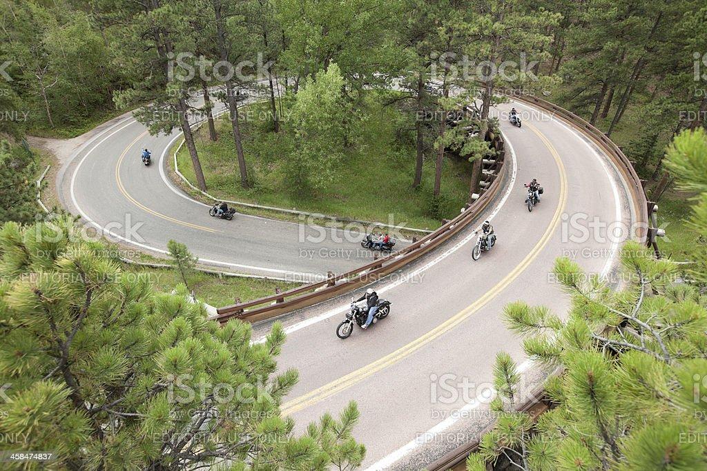 Motorcycle Corkscrew Road Trip stock photo