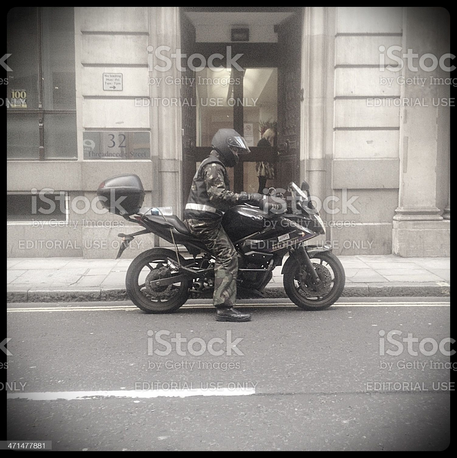 Motorcycle courier, London. royalty-free stock photo