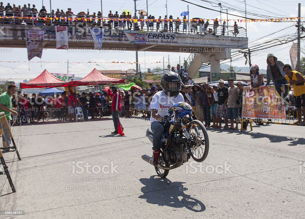 Motorcycle drag race stock photo