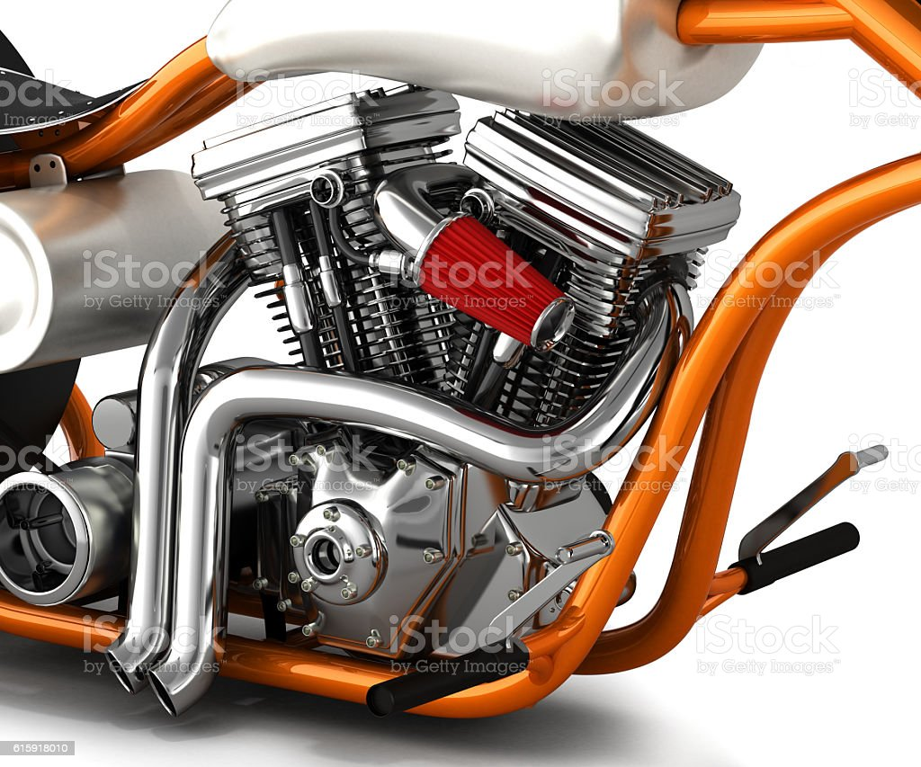 Motorcycle engine v twin 3d render stock photo