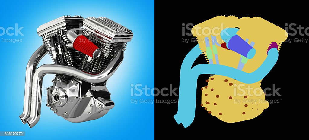 Motorcycle engine v twin isolated on blue gradient background wi stock photo