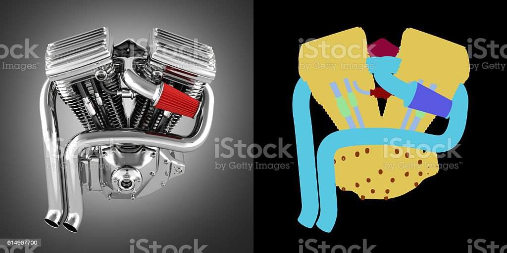 Motorcycle engine v twin on grey gradient background with alpha stock photo