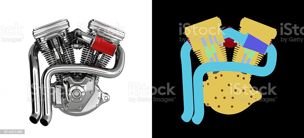 Motorcycle engine v twin on white background with wirecolor stock photo