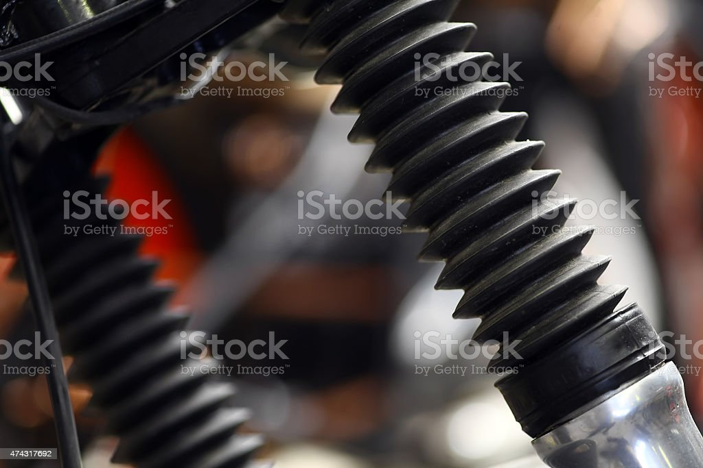 Motorcycle front suspension stock photo