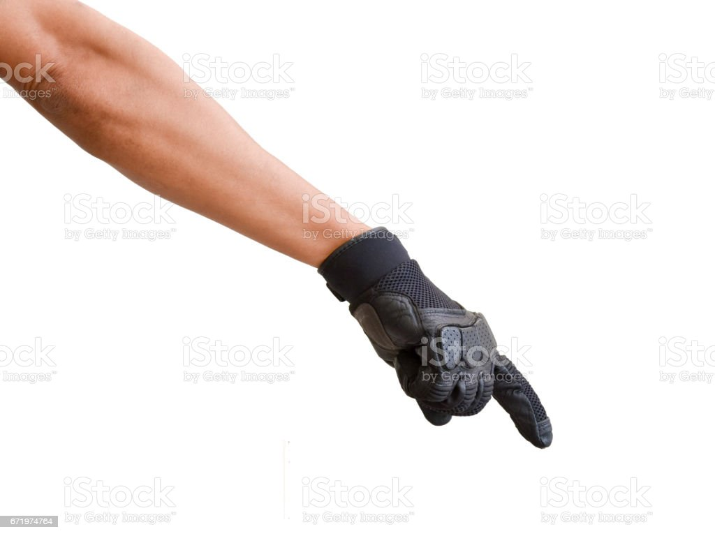 Motorcycle glove and hand signal to beware stock photo