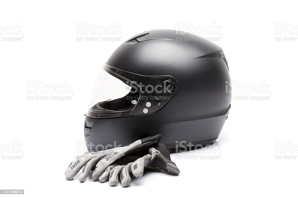 Motorcycle helmet and gloves stock photo