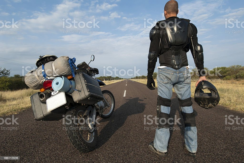 motorcycle journey on tarmac stock photo