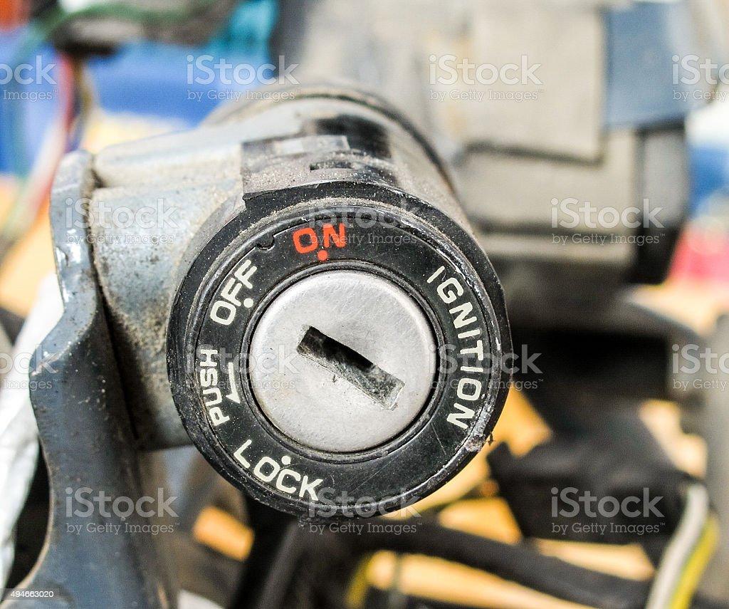 Motorcycle key hole stock photo