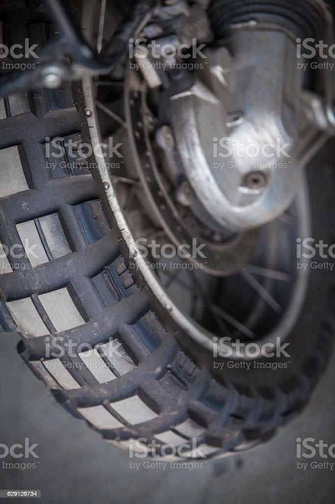Motorcycle knobby tyre stock photo