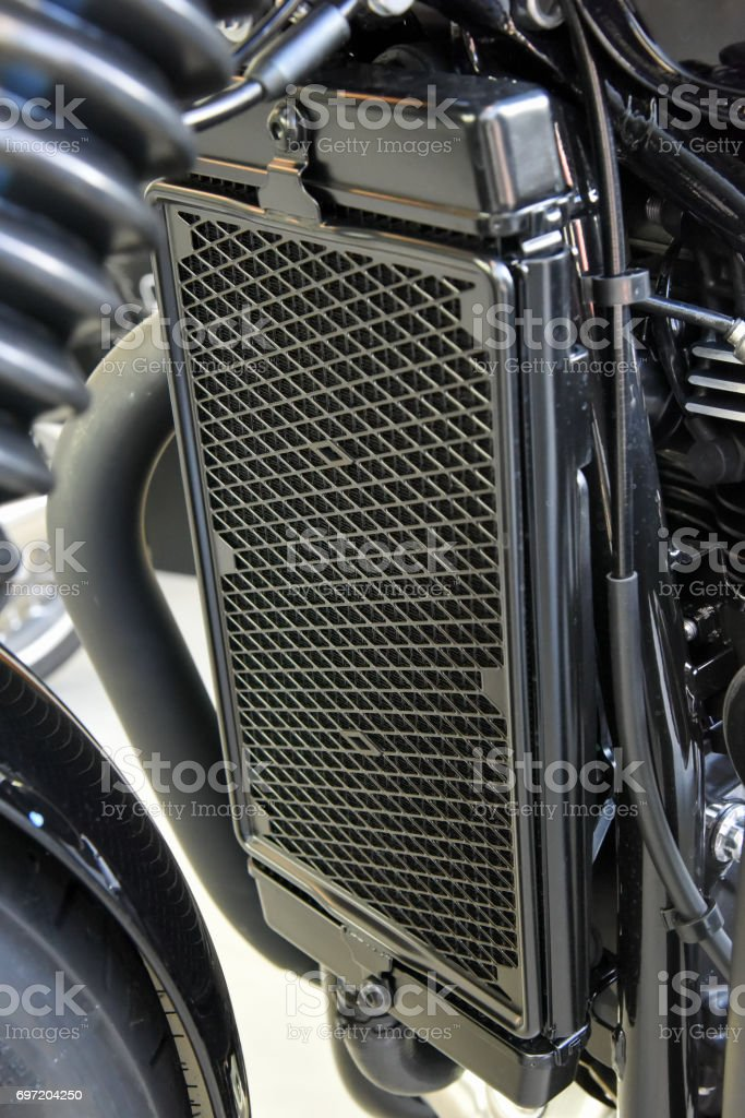 motorcycle liquid cooled system stock photo