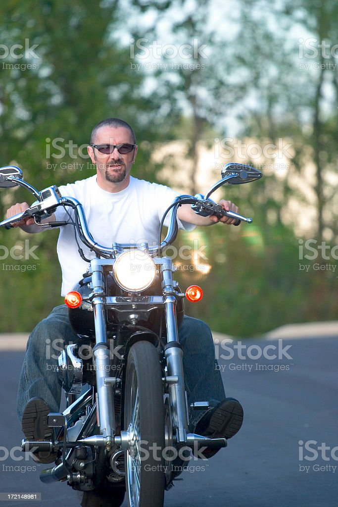Motorcycle Man in Motion royalty-free stock photo