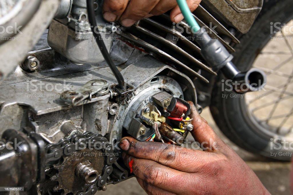 Motorcycle Mechanic stock photo