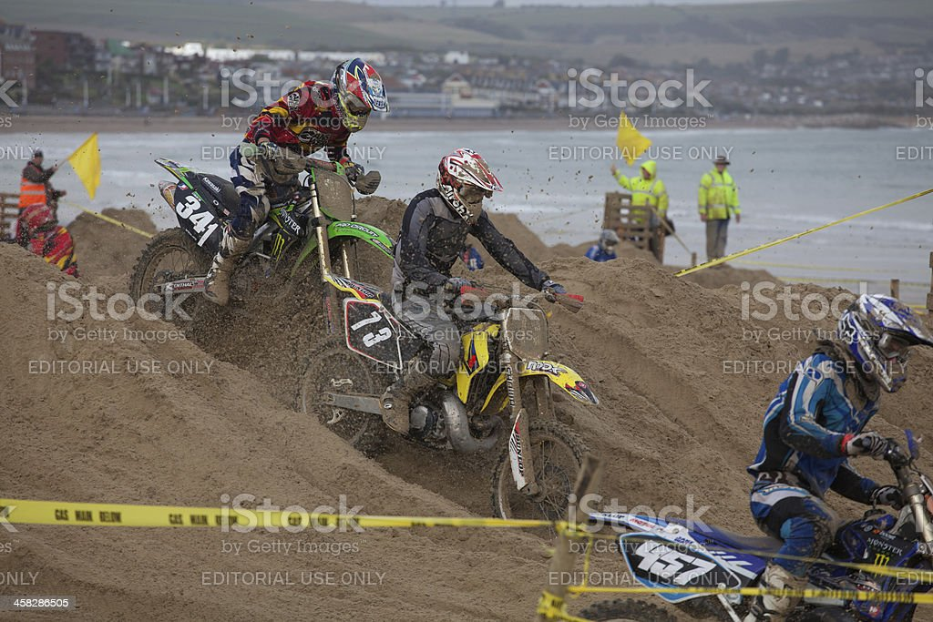 Motorcycle Motocross Dirt Bike Race On The Beach Stock Photo
