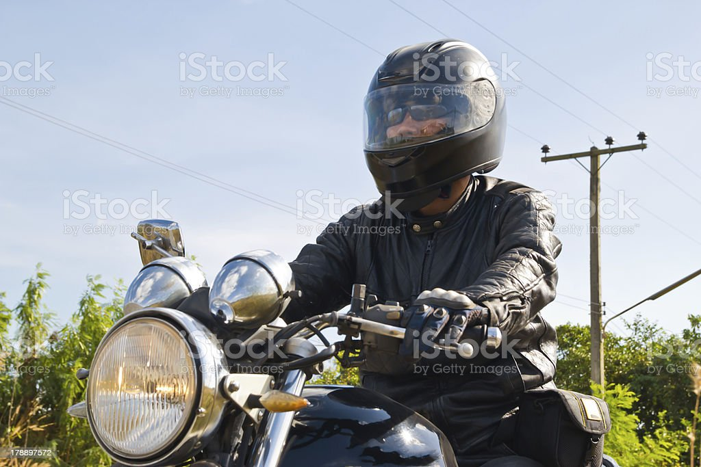 motorcycle on a asphalt road. royalty-free stock photo