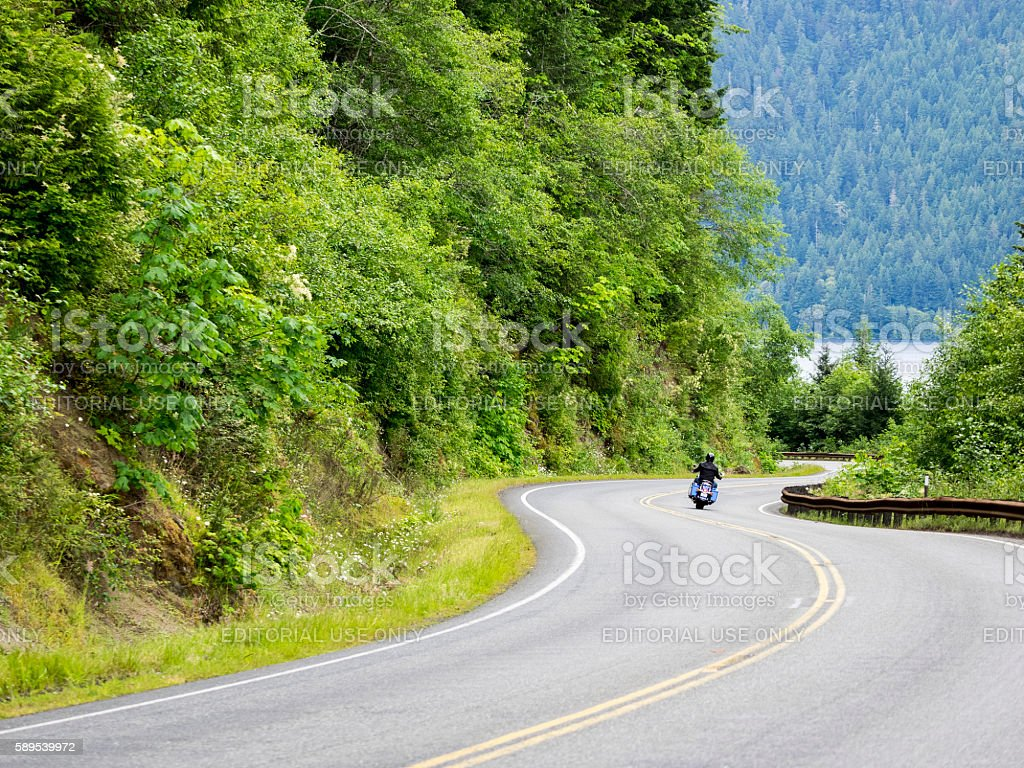 Motorcycle on Curvy Rural Washington State Road Port Angeles stock photo