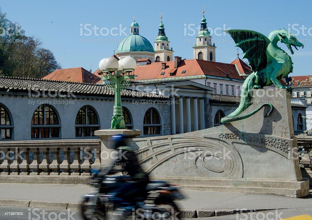 Motorcycle on Ljubljana's Dragon Bridge stock photo