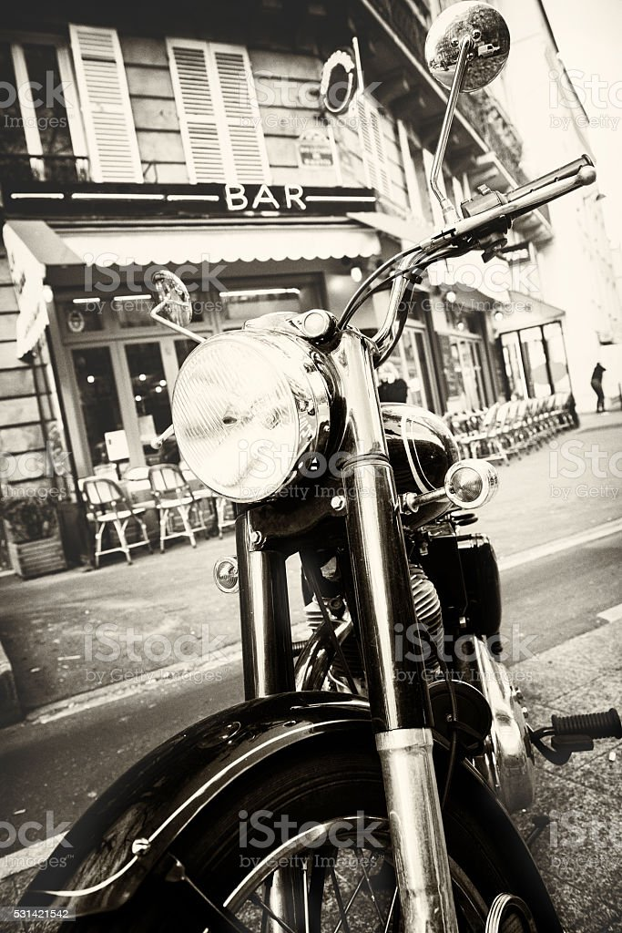 motorcycle on the Paris street stock photo