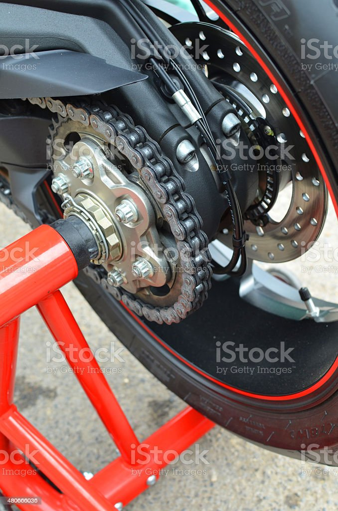 Motorcycle paddock stand. stock photo