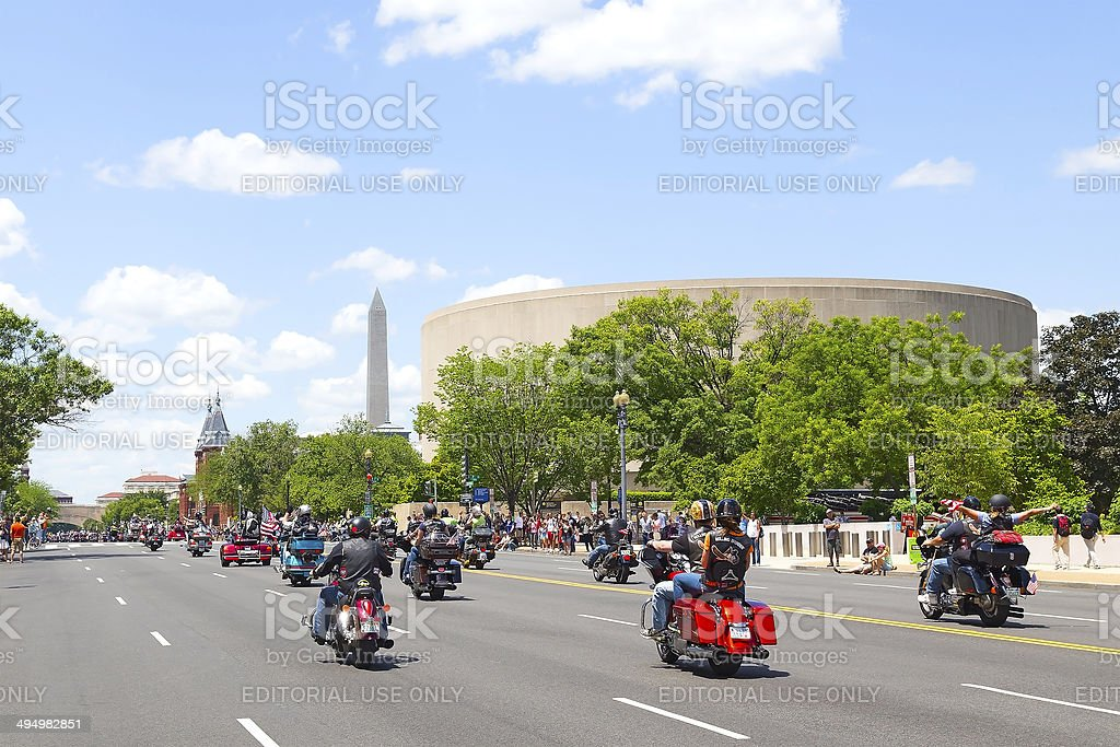 Motorcycle rally on Memorial Day weekend stock photo