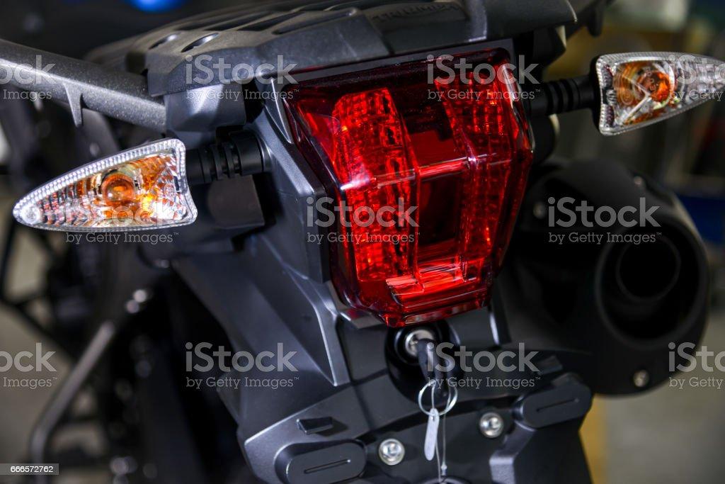 motorcycle rear lights stock photo