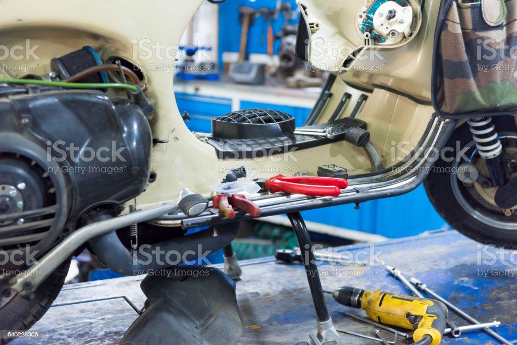 Motorcycle Repairs stock photo