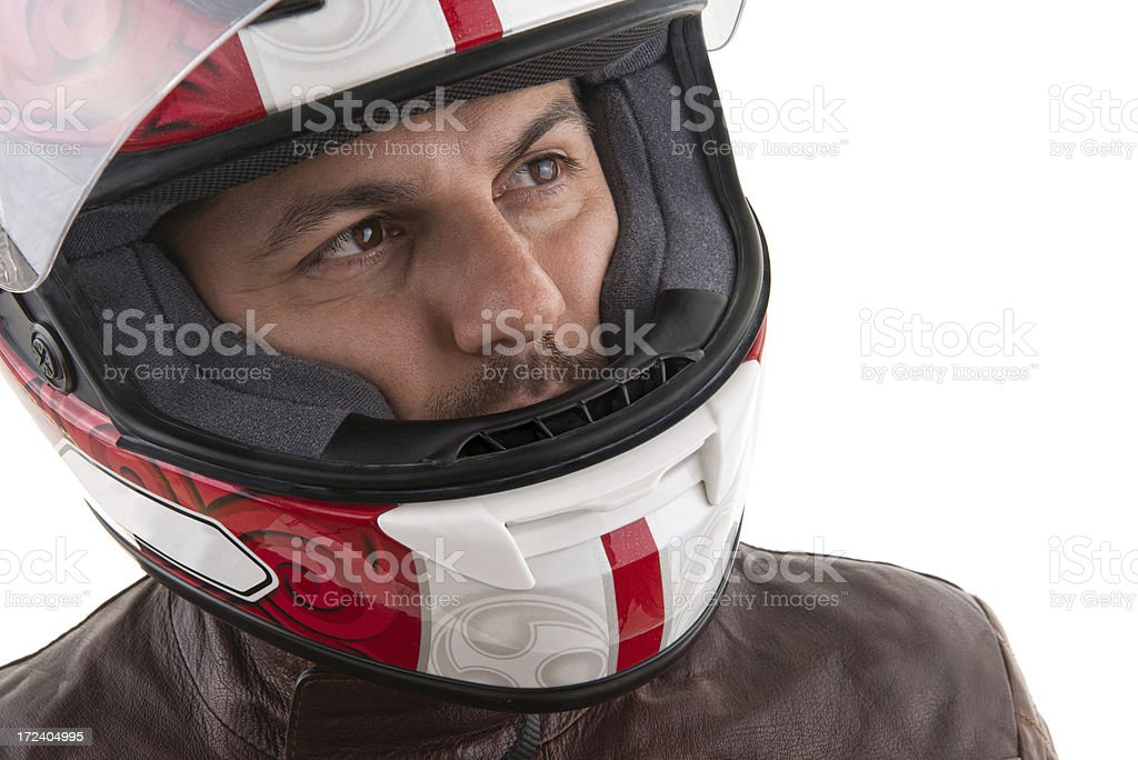 Motorcycle rider with helmet royalty-free stock photo