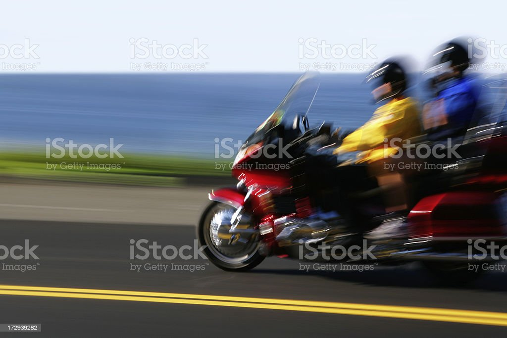 XL motorcycle riding couple royalty-free stock photo