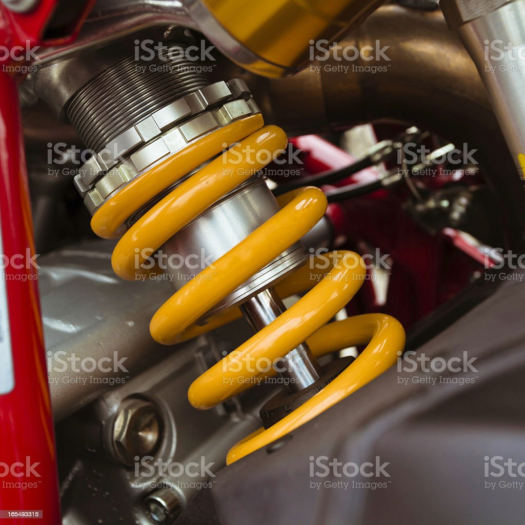 Motorcycle shock absorber stock photo