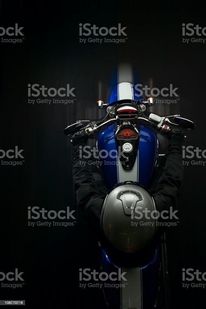 Motorcycle shot from above with motion blur royalty-free stock photo