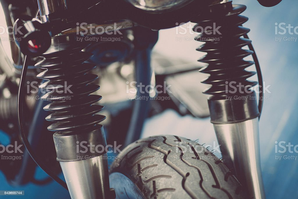 Motorcycle suspension detail stock photo