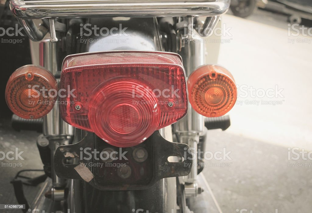 Motorcycle tail lights stock photo
