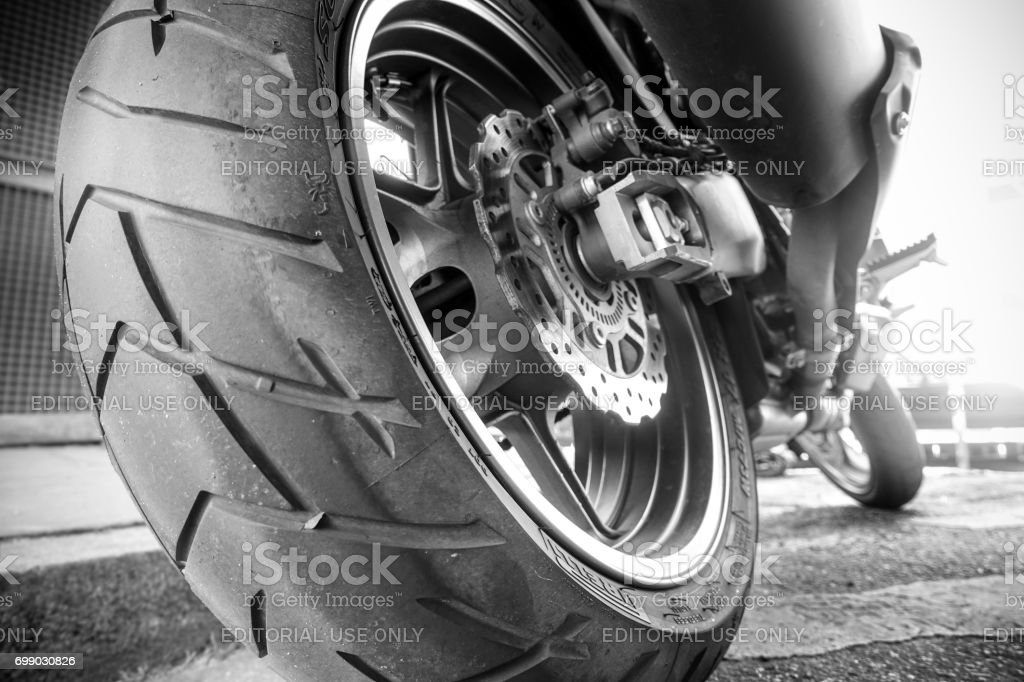 Motorcycle tire and break system stock photo