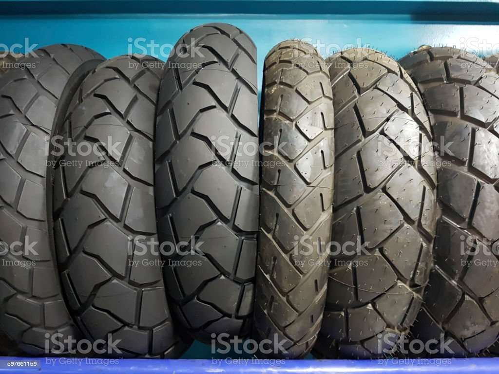 Motorcycle tires stock photo
