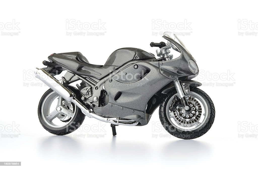 Motorcycle toy on white background stock photo