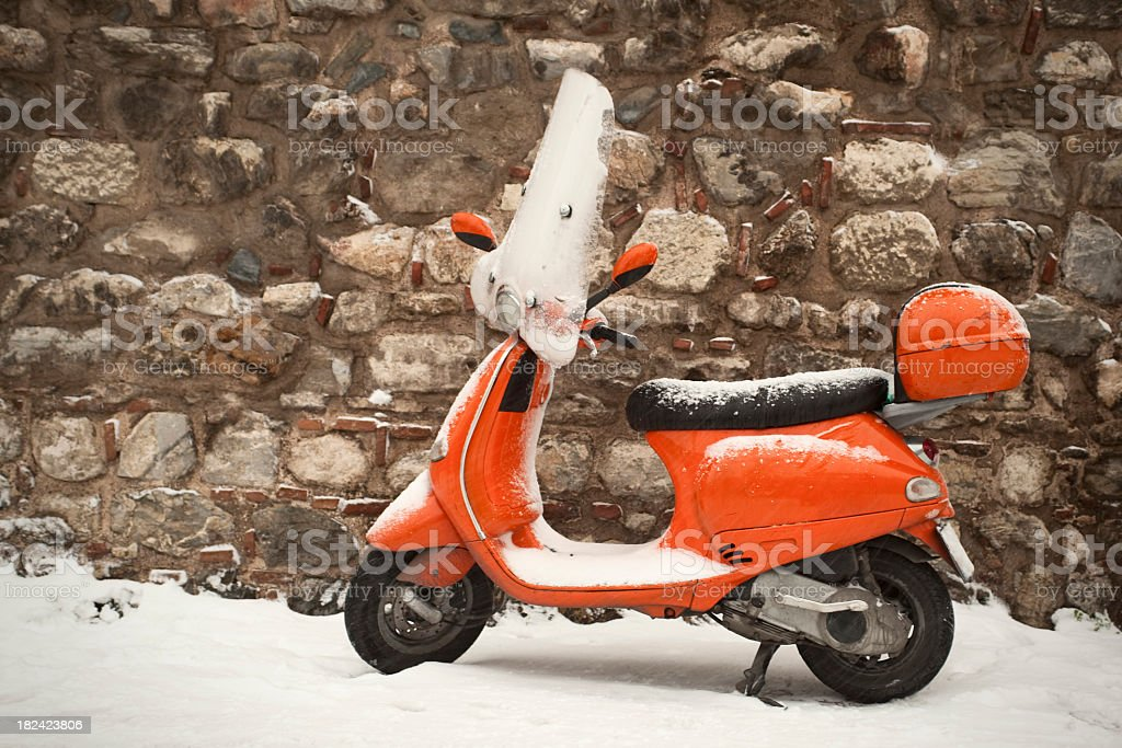 Motorcycle Under the Snow stock photo