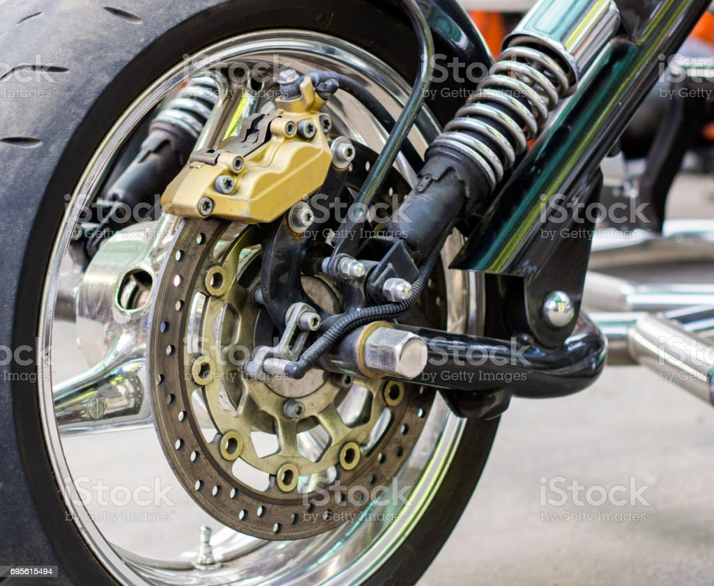 Motorcycle wheel assembly stock photo