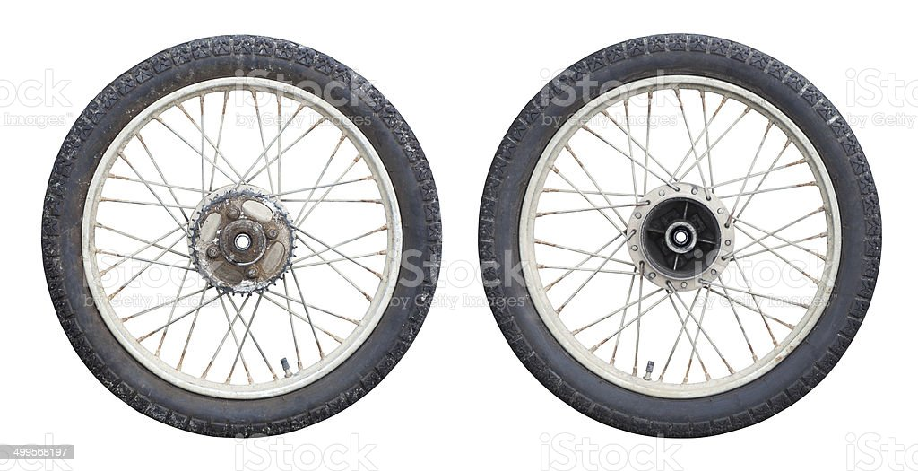 Motorcycle wheels stock photo