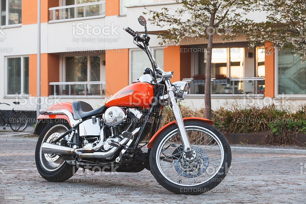 Motorcycle with chrome, Harley-Davidson stock photo