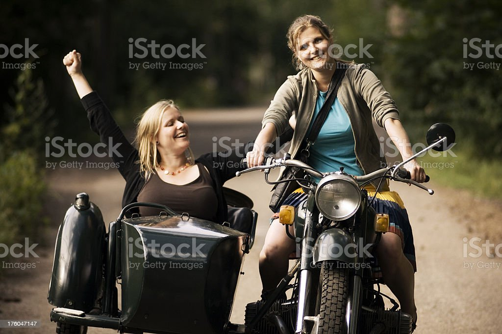 Motorcycle with side car stock photo