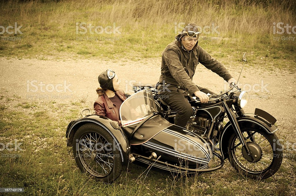 Motorcycle with Sidecar - 1935 Style stock photo