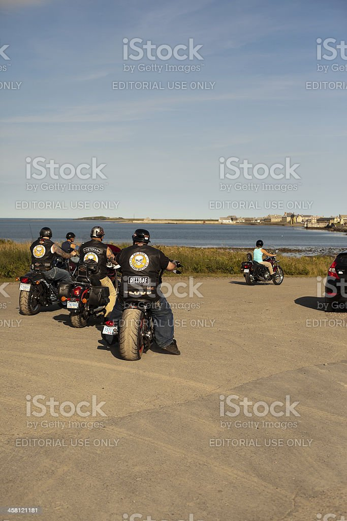 Motorcycles Heading to Fortress Louisbourg stock photo