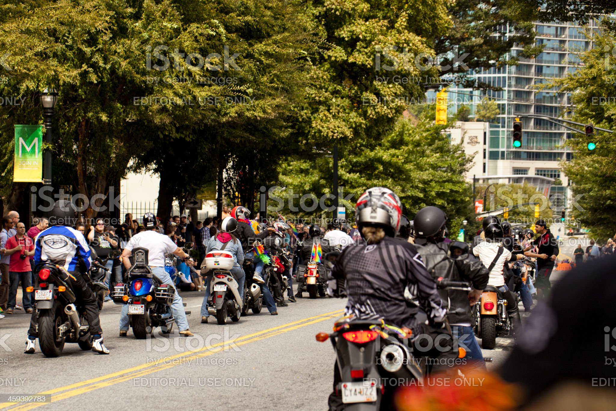 Motorcycles in atlanta parade royalty-free stock photo