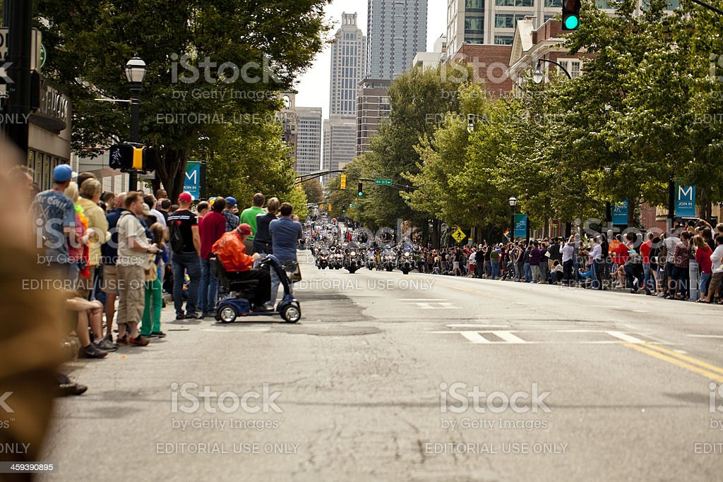 motorcycles lead the pride parade royalty-free stock photo