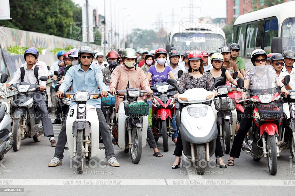 Motorcycles riders in Hanoi royalty-free stock photo