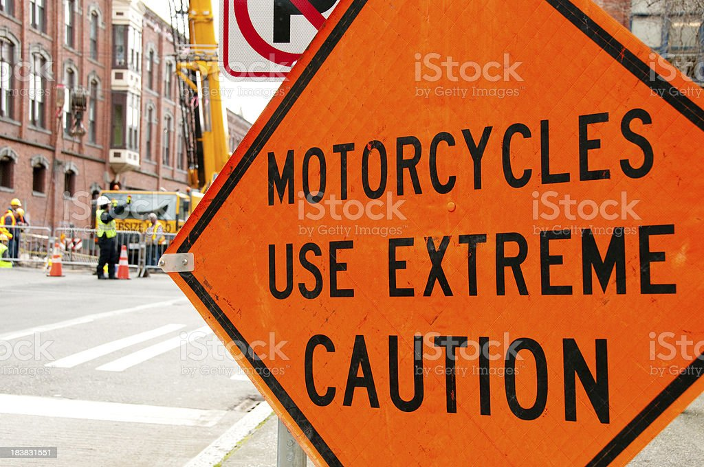 Motorcycles Use Extreme Caution Sign stock photo