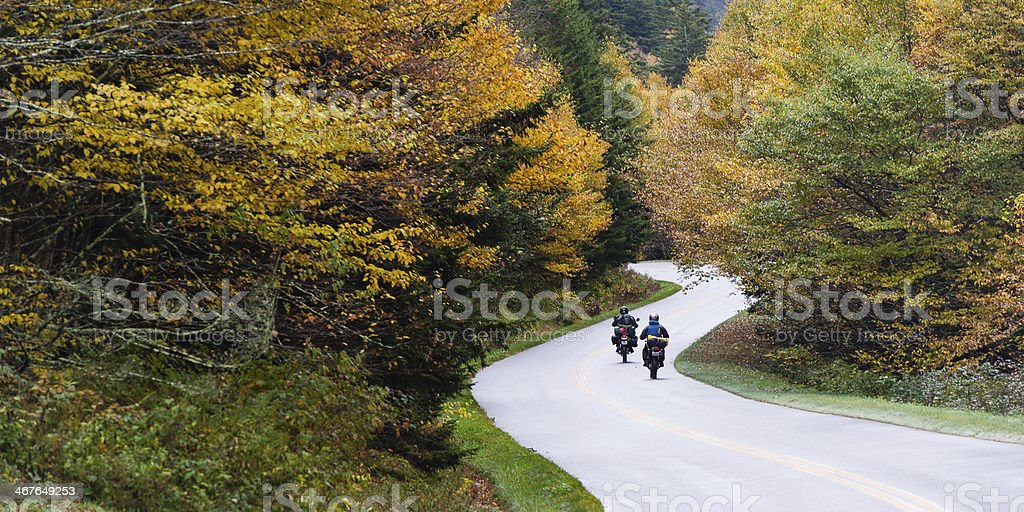 Motorcycling the Blue Ridge Parkway stock photo