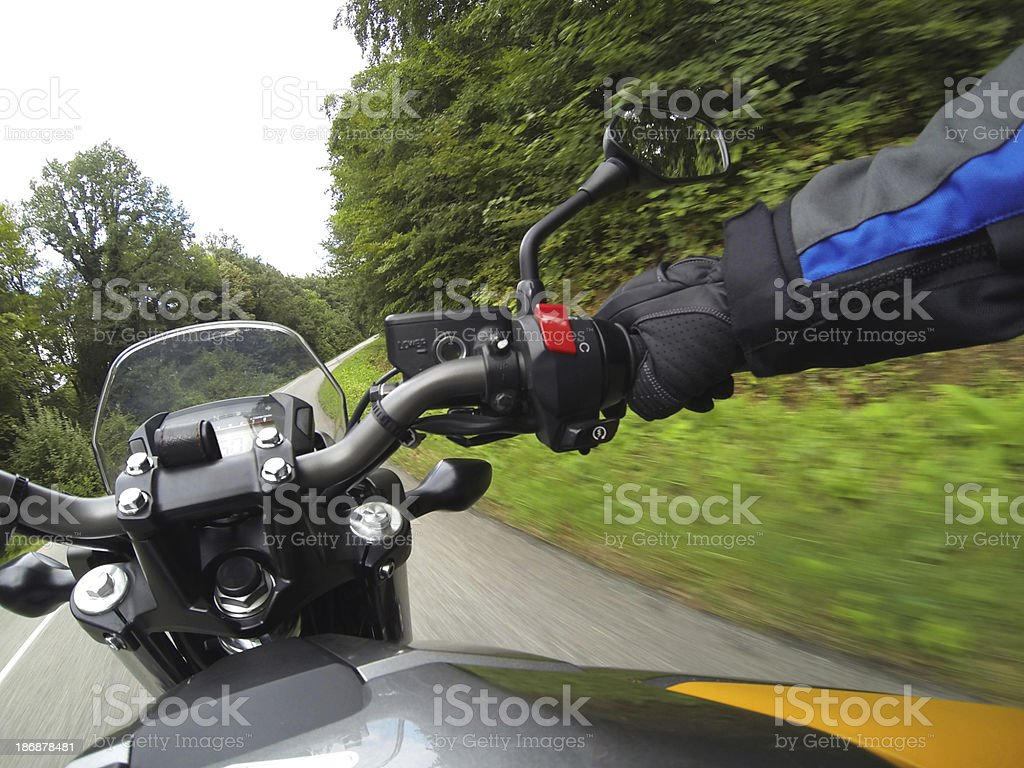 Motorcyclist driving stock photo