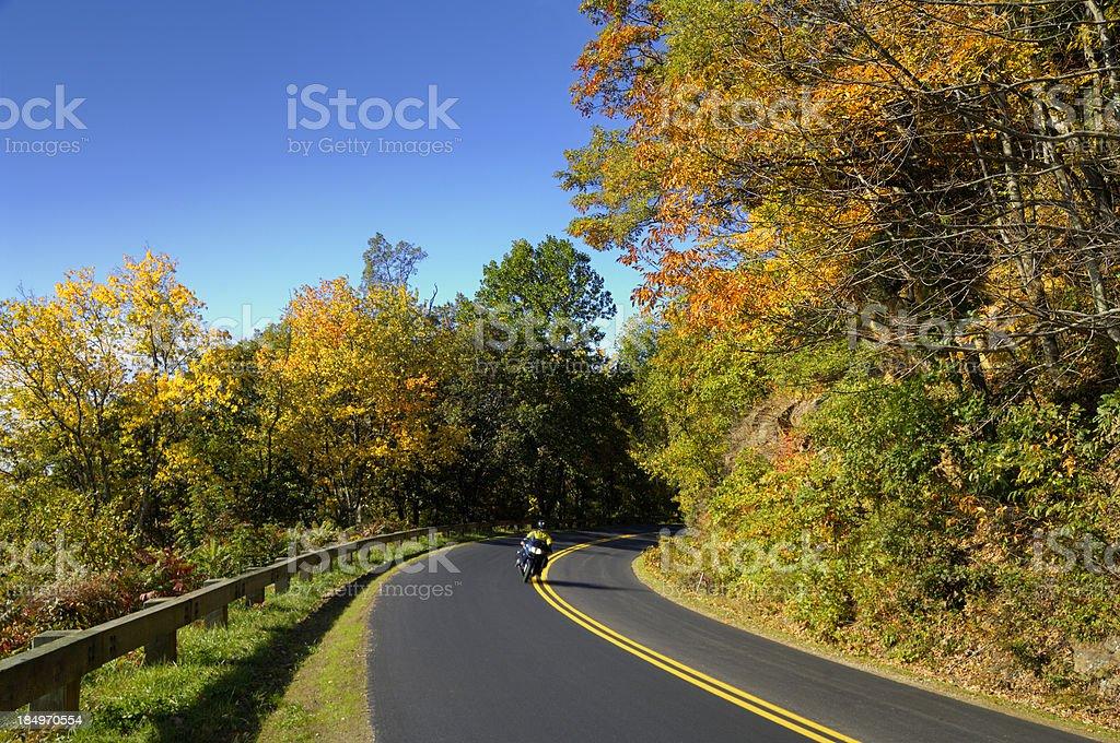 Motorcyclist Enjoys an Autumn Blue Ridge Parkway Ride royalty-free stock photo